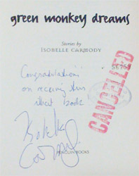 Green Monkey Dreams, signed by Isobelle Carmody