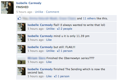 Isobelle Carmody finishes The Sending