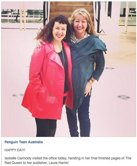 Isobelle Carmody visited the Penguin office, handing in her final finished pages of The Red Queen to her publisher, Laura Harris!